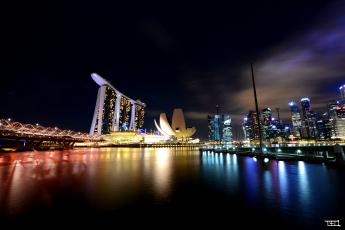 Картинка города сингапур hdr ночь огни