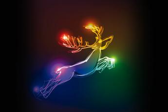 Картинка рисованное праздники олень deer christmas colors xmas рождество neon