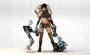 Картинка 3д+графика фантазия+ fantasy рендеринг девушка взгляд роботы маски вендетта