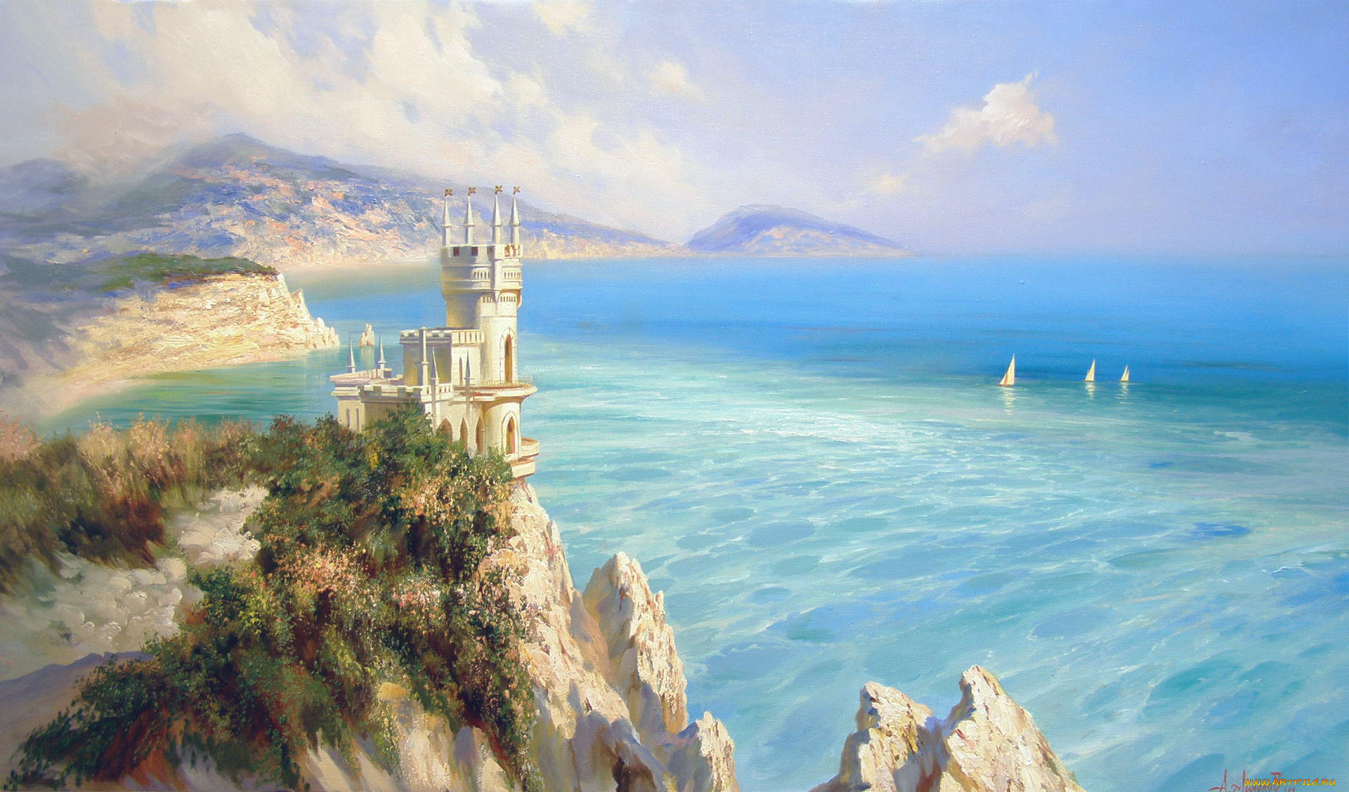 Горы море красивые открытки