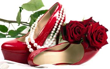 Картинка разное одежда +обувь +текстиль +экипировка туфли бусы жемчуг розы красный