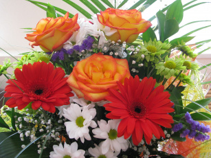 Картинка цветы букеты композиции розы герберы букет