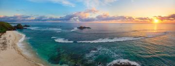 обоя природа, побережье, океан, остров, пляж, закат, пейзаж, берег
