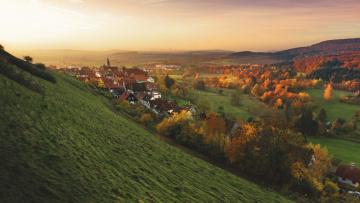 обоя города, - панорамы, дома, осень, деревья
