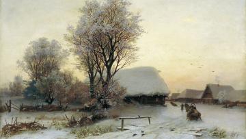 обоя на краю деревни, рисованное, - другое, избы, снег, лошади, сани, деревня, зима