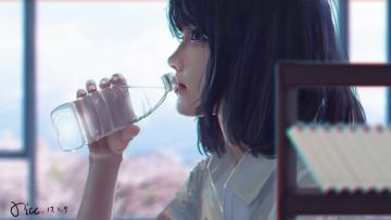 обоя xi chen chen, рисованное, люди, девушка, вода, бутылка