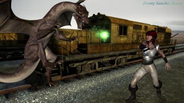 Картинка 3д+графика фантазия+ fantasy фон дракон взгляд девушка