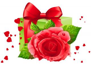 Картинка праздничные день+святого+валентина +сердечки +любовь роза подарок сердечки