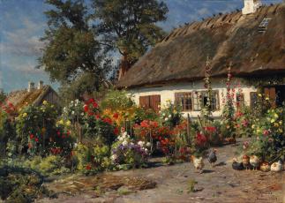 обоя рисованное, живопись, peder, monsted, дом, хижина, куры, цветы, 1919