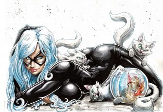обоя рисованное, комиксы, униформа, взгляд, девушка, аквариум, кошка, фон, маска