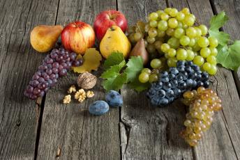 обоя еда, фрукты,  ягоды, слива, яблоко, груша, виноград