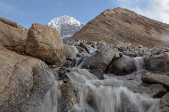 обоя тибет,  кайлас,  воды благословения, природа, водопады, снег, кайлас, вода, ручьи, паломничество, вершина