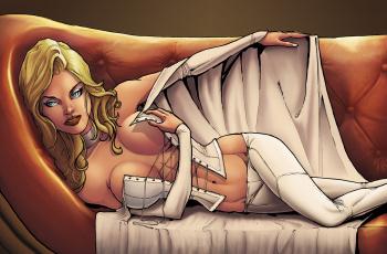 обоя рисованное, комиксы, фон, взгляд, девушка, корсет, диван