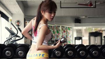 обоя спорт, - другое, занимается, фитнесом, девушка