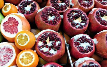 обоя еда, фрукты,  ягоды, гранат, грейпфрут, апельсин