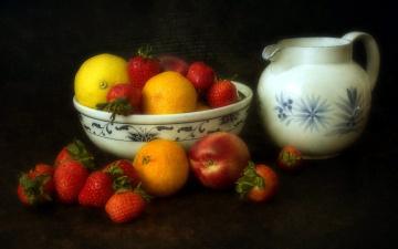 обоя еда, фрукты,  ягоды, клубника, лимоны