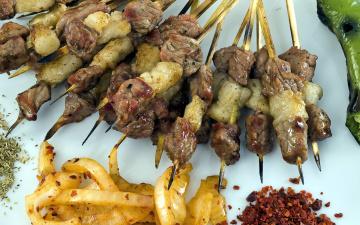 обоя еда, шашлык,  барбекю, мясо, лук
