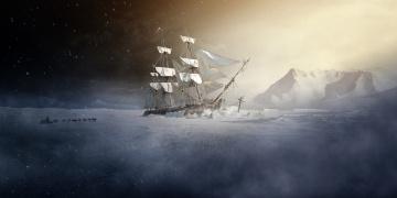Картинка корабли рисованные холод упряжка корабль льды парусник собаки человек