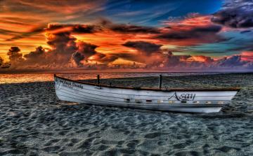 Картинка корабли лодки шлюпки песок закат лодка пляж океан palm beach