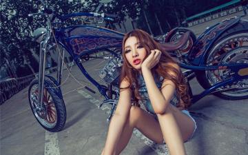 Картинка мотоциклы мото+с+девушкой азиатка мотоцикл девушка