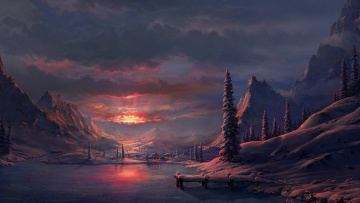 Картинка рисованное природа закат пейзаж