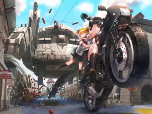Картинка аниме оружие +техника +технологии девушки взгляд фон