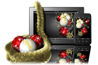 обоя праздничные, векторная графика , новый год, украшения, мониторы