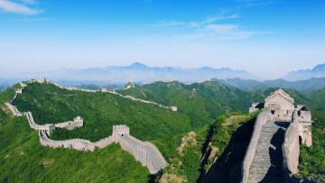 обоя города, - исторические,  архитектурные памятники, деревья, горы, великая, китайская, стена, китай