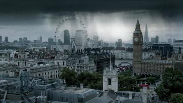 обоя города, лондон , великобритания, дождь, над, городом, лондон