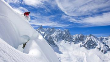 обоя спорт, лыжный спорт, слалом, экстрим, горы, лыжник, спуск, снег
