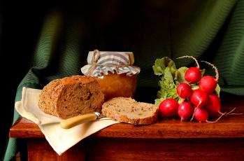 Картинка еда натюрморт банка нож хлеб редис