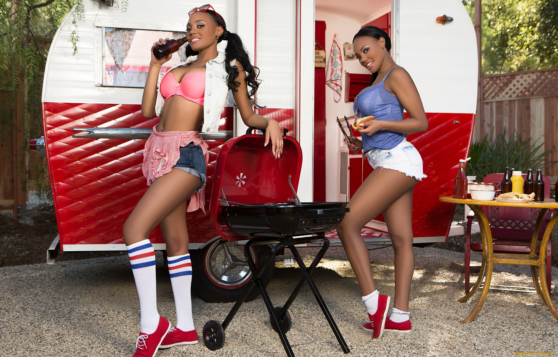 Ebony centerfold models Brittany and Brandi Kelly wash car naked  723496
