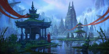 обоя фэнтези, замки, монах, вода, atlantis, art, фантастика, башня, храм