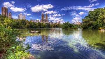 обоя города, нью-йорк , сша, озеро, центральный, парк, нью-йорк, пейзаж