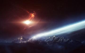 Картинка космос арт галактика планета горы
