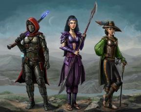 обоя фэнтези, существа, копье, шлем, трость, шляпа, меч, эльф, охотники, фантастика, девушка