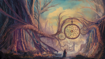 обоя фэнтези, пейзажи, ловец, снов, арт, фентези, manu, micheler