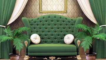 обоя интерьер, мебель, диван, подушки