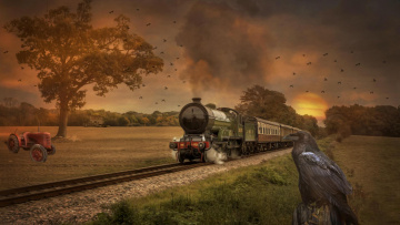 обоя рисованное, - другое, ворон, паровоз, железная, дорога, поле, закат