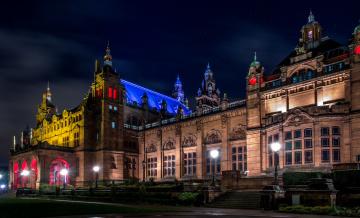обоя города, - огни ночного города, художественная, галерея, и, музей, келвингроув, вечером, шотландия