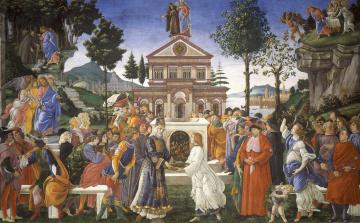 обоя рисованное, религия, картина, сандро, боттичелли, мифология, три, искушения, христа