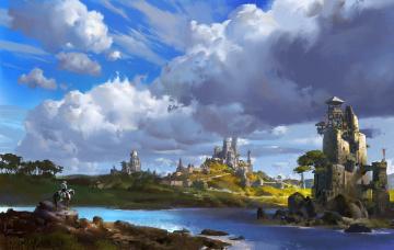 обоя фэнтези, пейзажи, ling, xiang, фентези, арт, река, город, замок