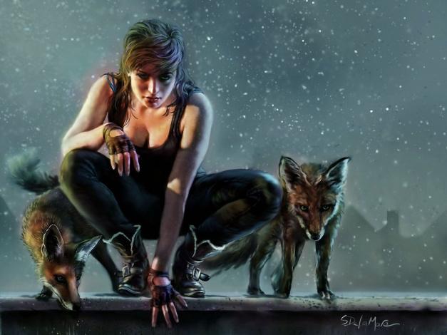 Обои картинки фото фэнтези, девушки, лиса, арт, фентези, девушка, охотница
