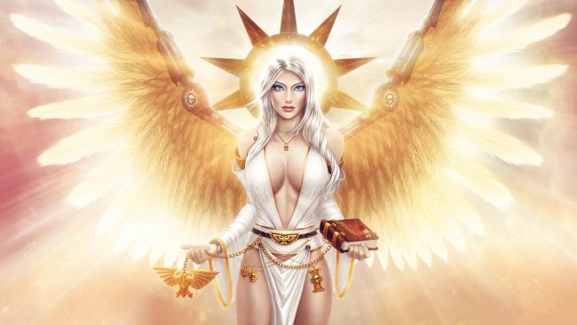 Обои картинки фото фэнтези, ангелы, девушка, крылья, книга, взгляд, фон, нимб