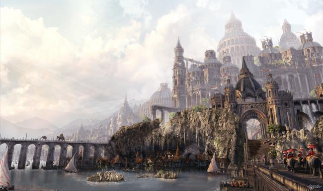 Обои картинки фото фэнтези, замки, дорога, замок, фентези, город, будни, день, арт