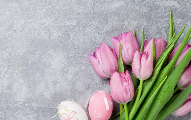Обои картинки фото праздничные, пасха, тюльпаны, розовые, pink, tulips, spring, easter, eggs, decoration, happy, tender, pastel