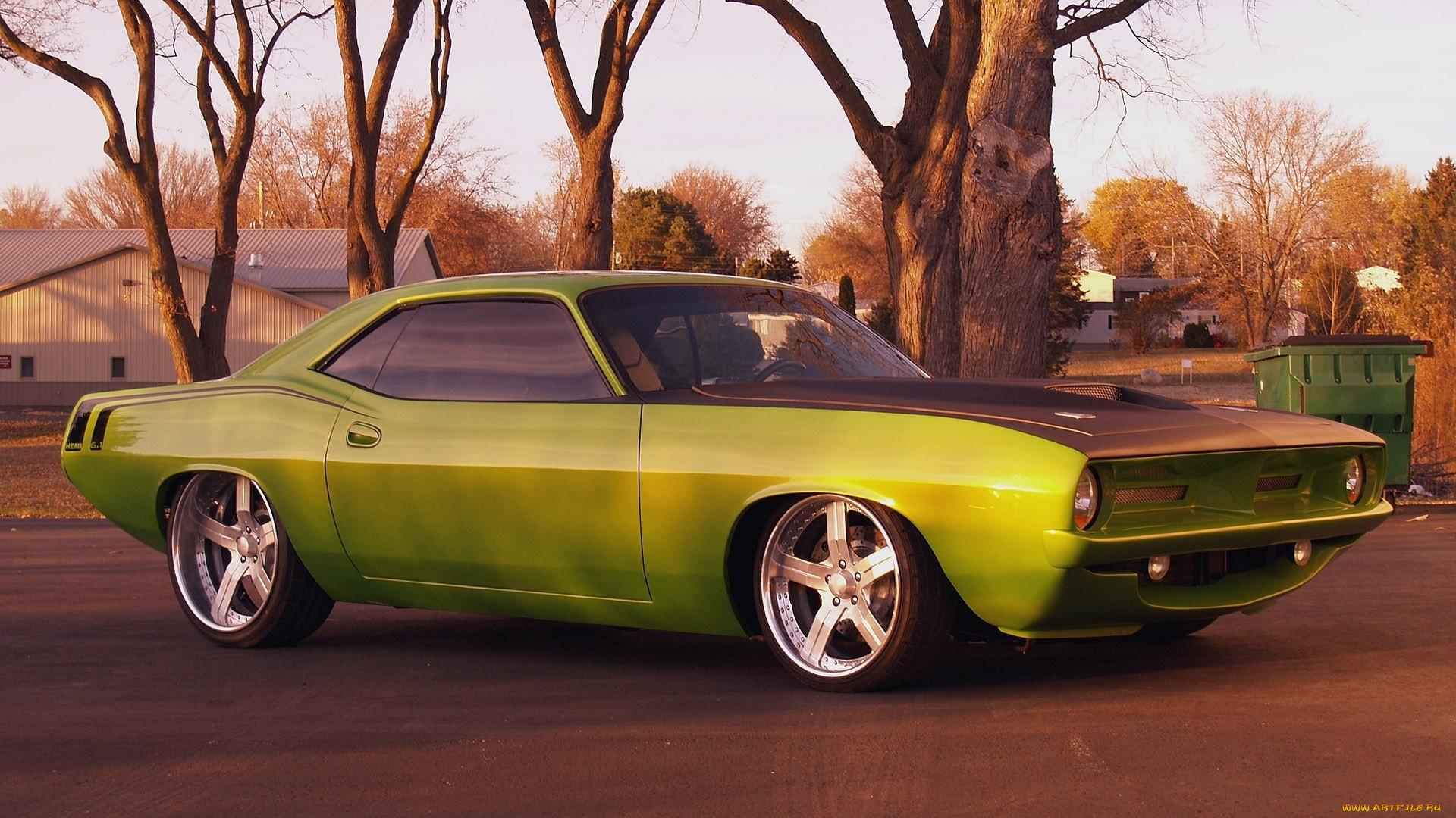 зеленый автомобиль plymouth cuda  № 3131949 загрузить