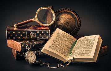 обоя разное, канцелярия,  книги, книга, глобус, часы, лупа