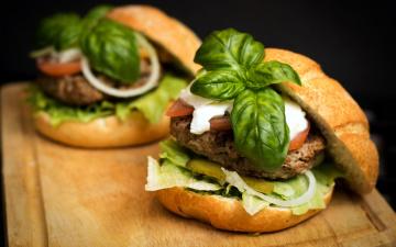 Картинка еда бутерброды +гамбургеры +канапе базилик гамбургер котлета