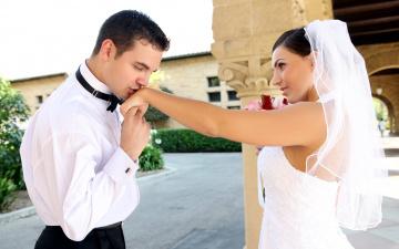 Картинка разное мужчина+женщина невеста молодожены жених новобрачные фата